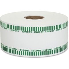 Coin-Tainer 50010: Color-coded Coin Machine Wrappers 1000 ft Length 1900 Wrap s Total 5.0 in 50 Coins of 10 Denomination 15 lb Paper Weight Kraft Green, White