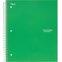 Mead Five Star 72067: College Ruled 3 subject Notebook Letter 150 Sheets Wire Bound College Ruled 8 1/2 x 11 Green Cover Kraft Cover 1Each