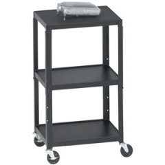 Bretford A2642: Five-In-One Adjustable Av Cart / stand, Three-Shelf, 24w x 18d x 42h, Black
