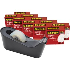 Scotch 700K10C18BLK: Super-Hold Tape 27.78 yd Length x 0.75 Width Dispenser Included 10 / Pack Clear