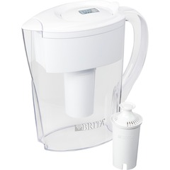 Brita 35566CT: Space Saver Water Filter Pitcher Pitcher 40 gal / 2 Month 6 Cups Pitcher Capacity 2 / Carton White