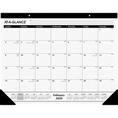 At A Glance SK240020: Classic Monthly Desk Pad Large Size Professional Julian Dates Monthly 1 Year January till December 1 Month Single Page Layout White Sheet Desk Pad Black, White Ruled Daily Blo..