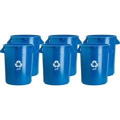Genuine Joe 60464CT: 32-gallon Heavy-duty Trash Container 32 gal Capacity Plastic Blue