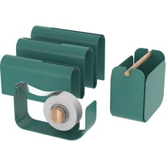 U Brands 3605A0001: Metal Desk Organization Kit, Arc Collection, Cup, Tape Dispenser Letter Sorter Included, Green 3605A00-01 Desktop Green Metal 1 Set Each
