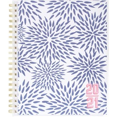 Mead Cambridge KK104901A: Katie Kime Blue Mums Academic Planner Academic Monthly, Weekly 1 Year July 2020 till June 2021 1 Month, 1 Week Double Page Layout 8 1/2 x 11 White Sheet Twin Wire Coral, Mint Gree..