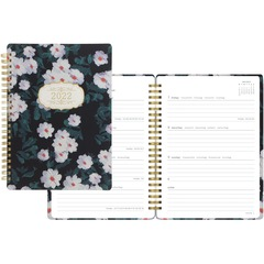 Brownline C081888: Bloom Design Planner Weekly 1 Year January 2021 till December 2021 Twin Wire Black Daily Block, Durable Cover, Page Marker 1 Each