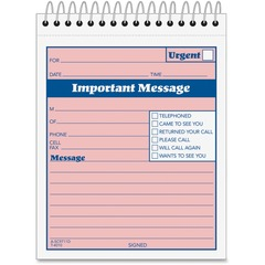 Adams Business Forms SC9711D: Spiral-bound Phone Message Booklet 50 Sheet s Spiral Bound 4 x 5 1/2 Sheet Size 1 / Each