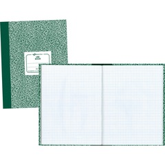 National Brand 53108: Lab Composition Notebook 60 Sheets Sewn 7 7/8 x 10 1/8 White Paper Green Cover Marble Recycled 1Each