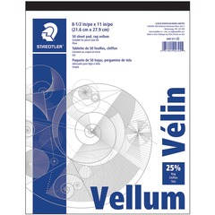 Staedtler 946T811: Vellum Paper Pad Letter 8 1/2 x 11 16 lb Basis Weight Smooth 50 / Pad White