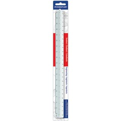 Staedtler 9871934BK: 12 Triangular Engineer Scale 12 Length 1 Width 1/10 Graduations Imperial, Metric Measuring System Plastic 1 Each White