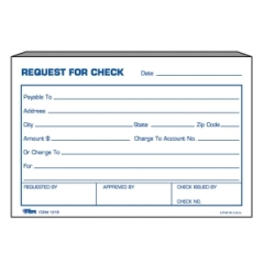 TOPS Forms 12181: Request For Check Form 1 Part 4 X 6 Sheet Size White